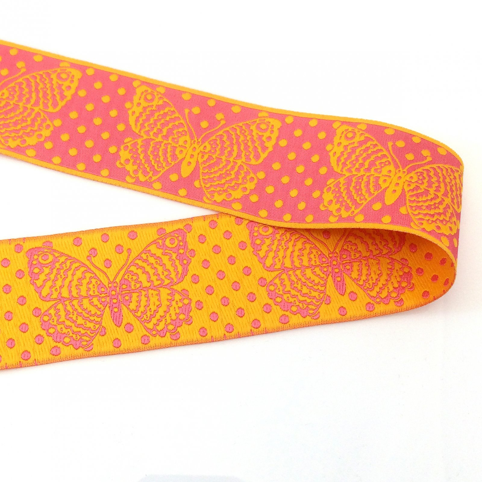 RENAISSANCE RIBBONS - BUTTERFLY - YELLOW ON PINK