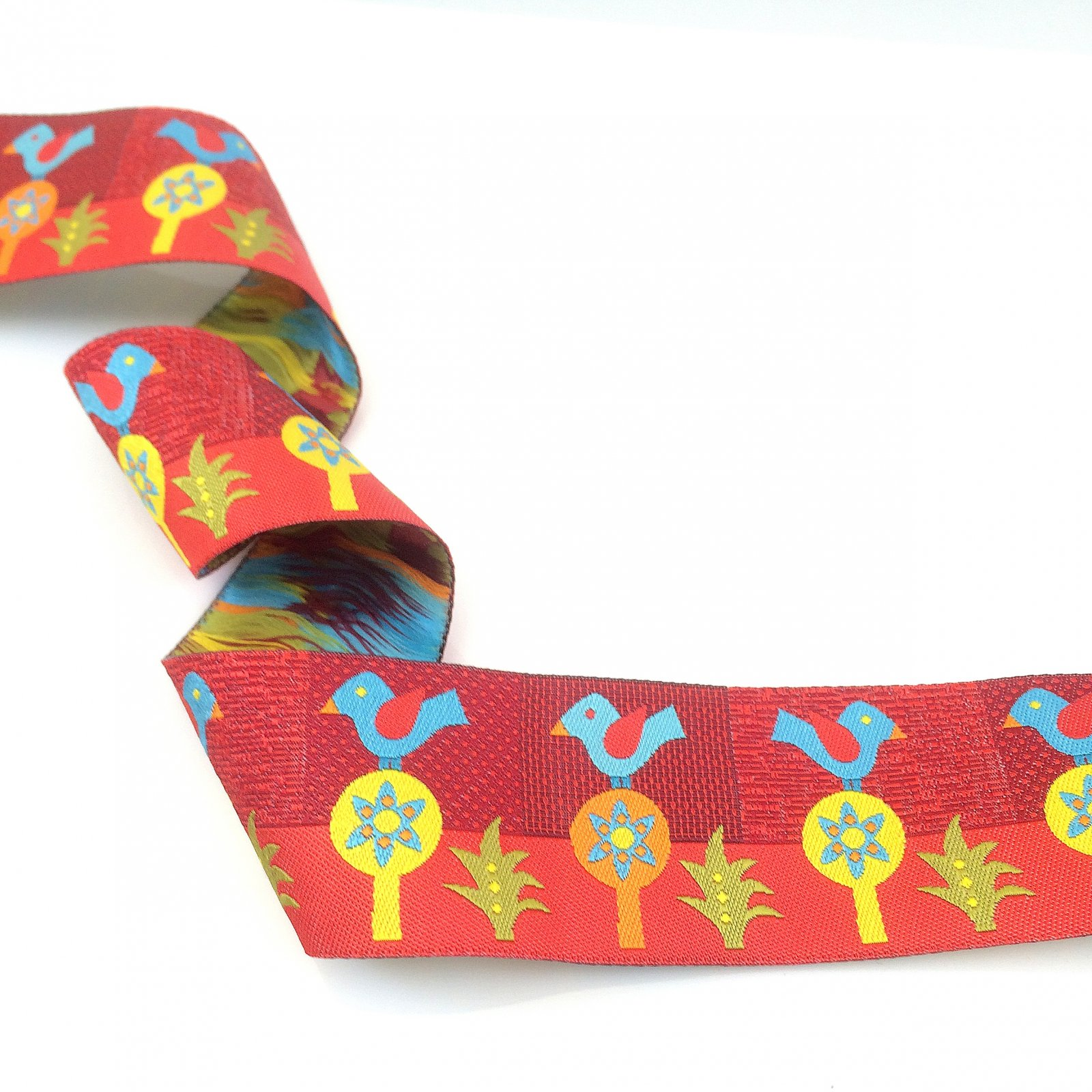 RENAISSANCE RIBBONS - FOLKLORIC BLUE BIRD - RED - 1 1/2IN