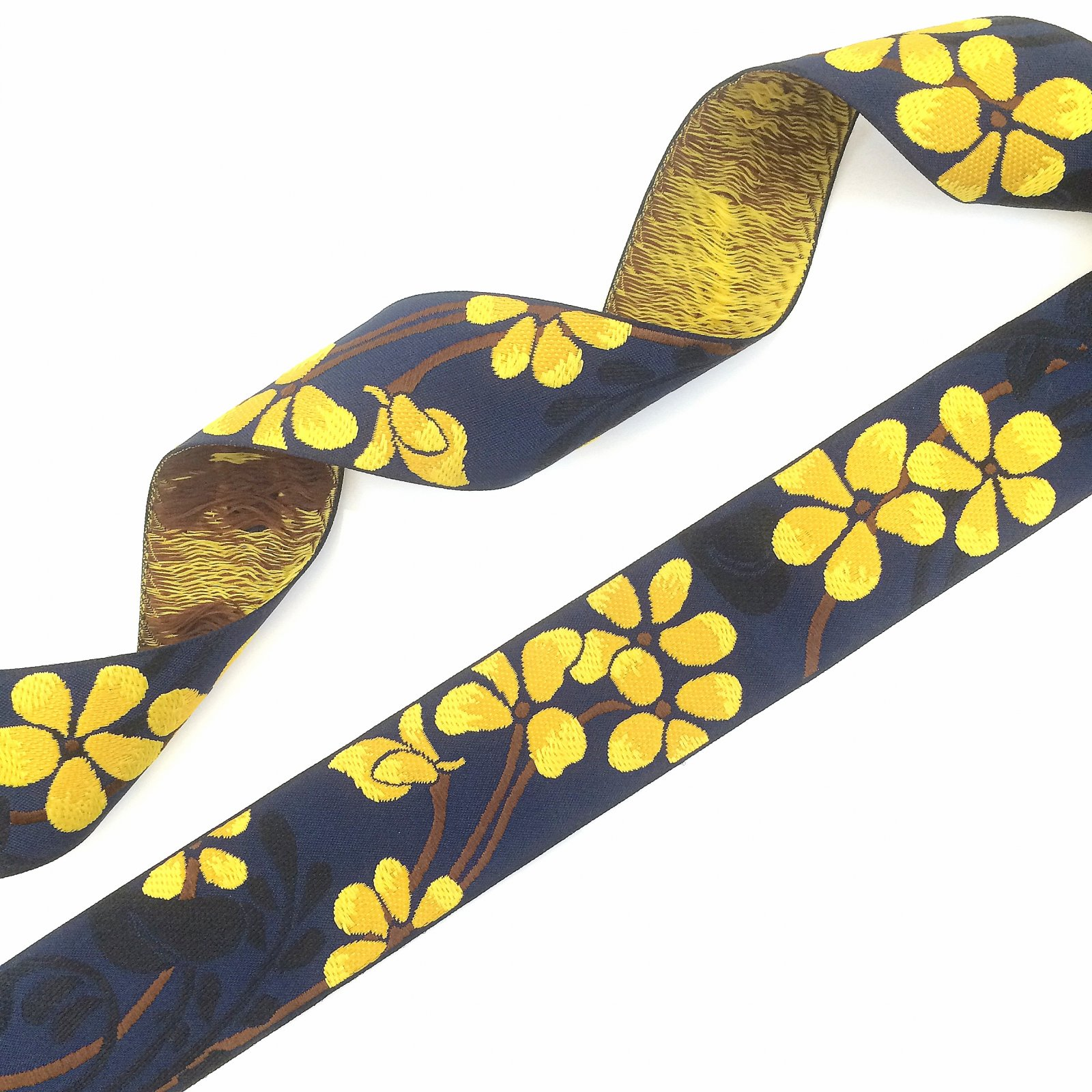 RENAISSANCE RIBBONS - FLOWER - YELLOW ON NAVY