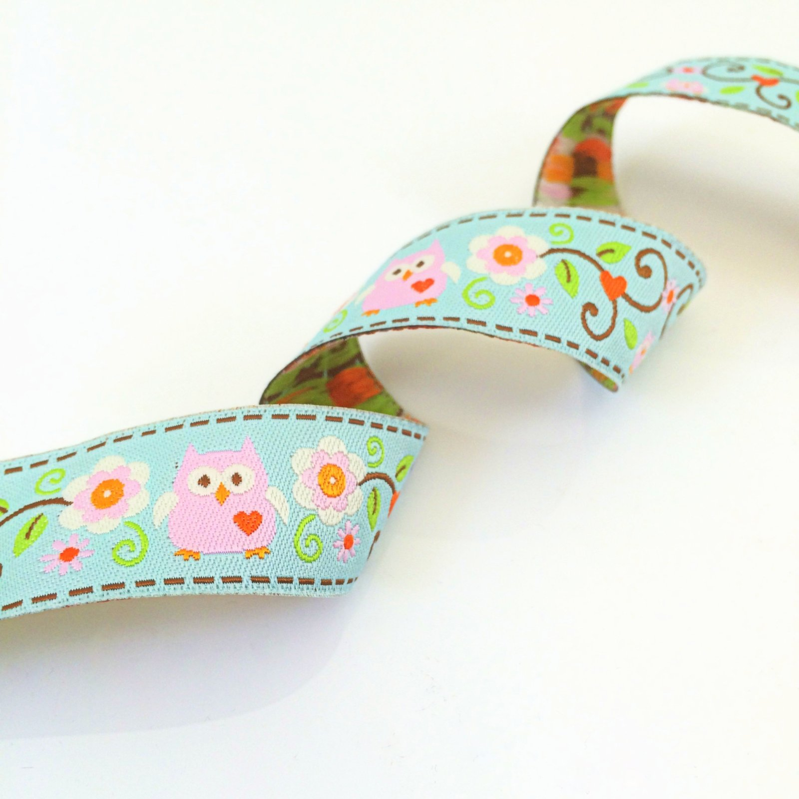 RENAISSANCE RIBBONS - HAPPI OWLS 22MM - PINK ON AQUA