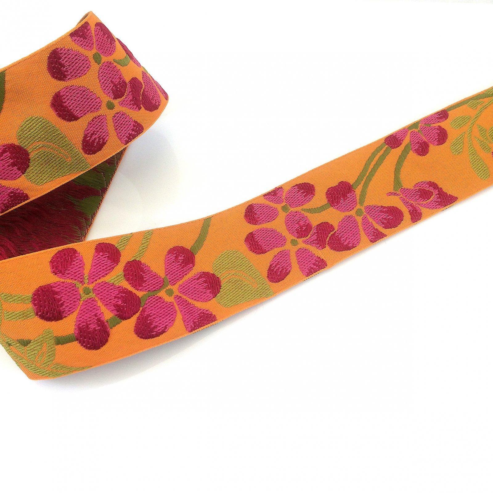 RENAISSANCE RIBBONS - FLOWER - FUSCHIA ON ORANGE