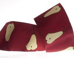 RENAISSANCE RIBBONS - GOLD PEARS ON CLARET