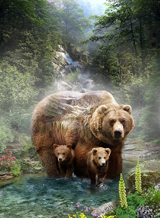 CALL OF THE WILD - 32 SINGLE PANEL - GRIZZLY BEAR - DIGITAL PRINT - Q4491-260