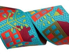 RENAISSANCE RIBBONS - HOUSES ON TURQUOISE - SUE SPARGO