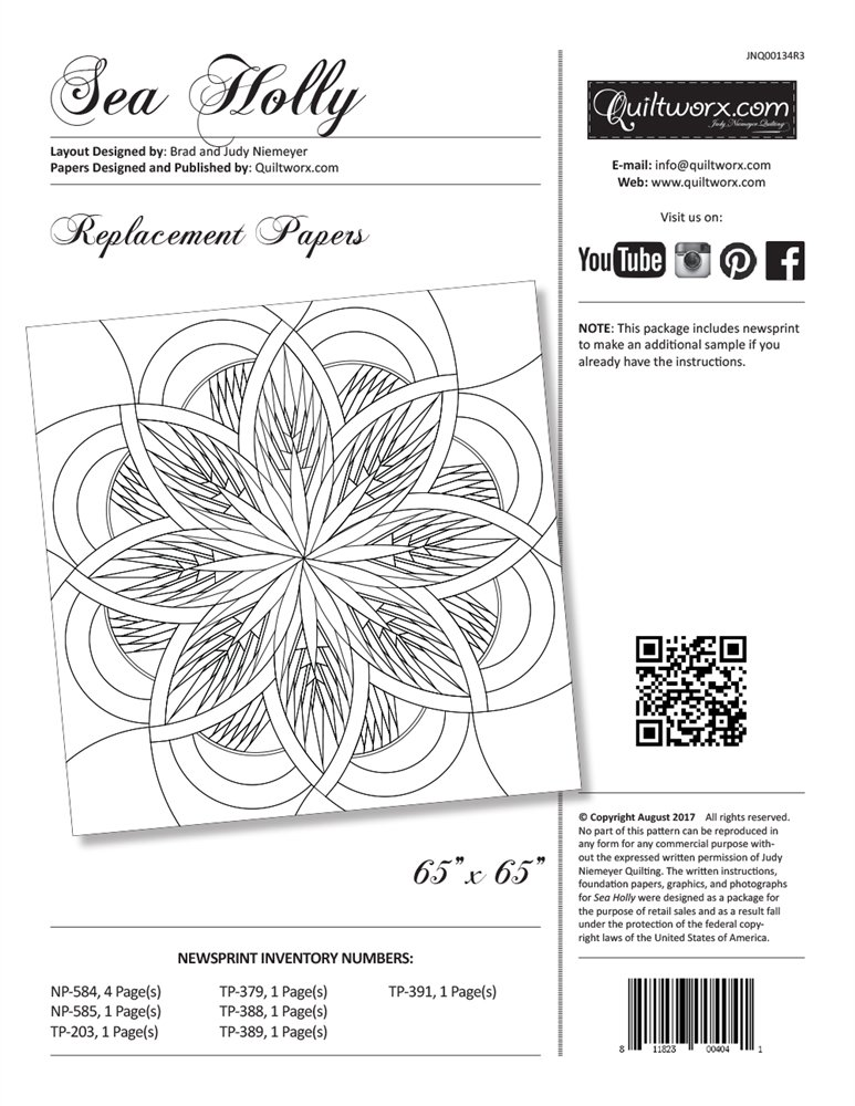Sea Holly Replacement Papers Pattern Judy Niemeyer