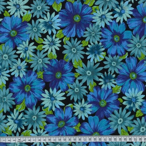 OUTBACK WIFE - AUTHENTIC BARKCLOTH - MARY - BLUE - 58 WIDE - TE 6013 B