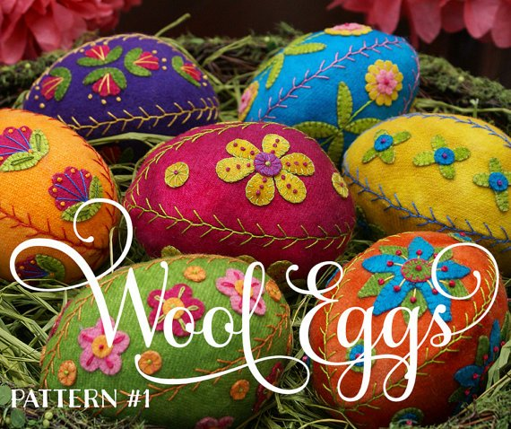 APPLIQUED AND EMBROIDERED WOOL EGG #1 - PATTERN