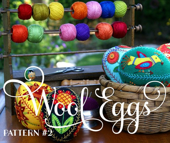 APPLIQUED AND EMBROIDERED WOOL EGG #2 - PATTERN