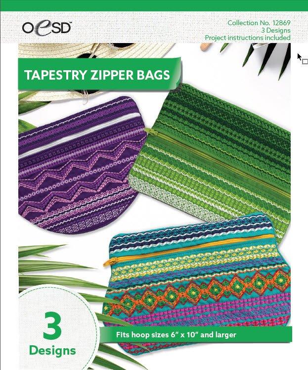12869 CD Tapestry Zipper Bags