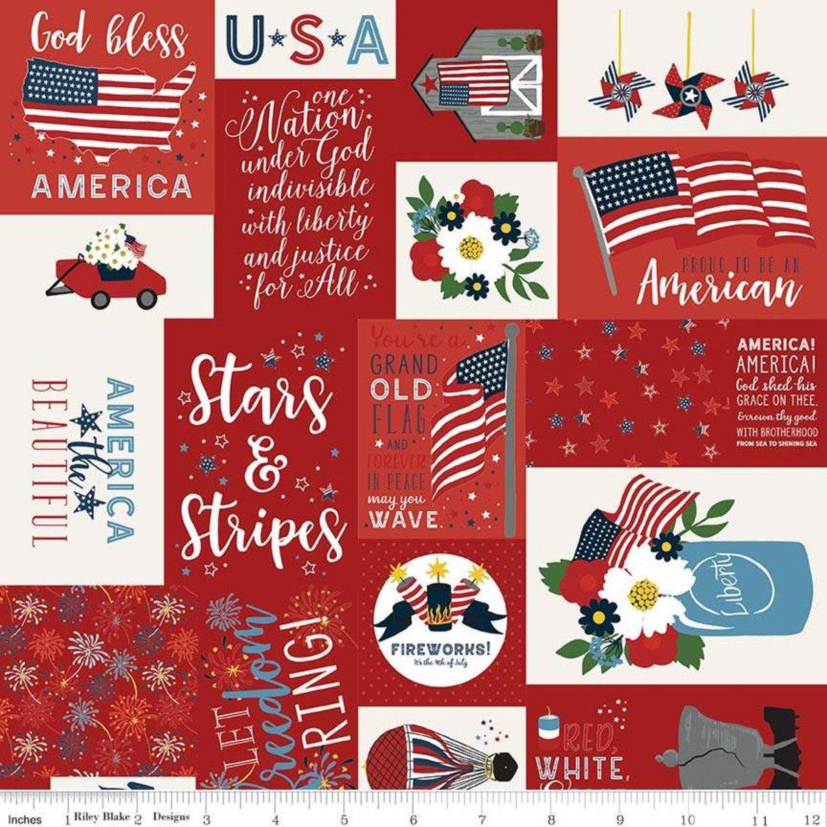 Riley Blake Celebrate America C8280 Red