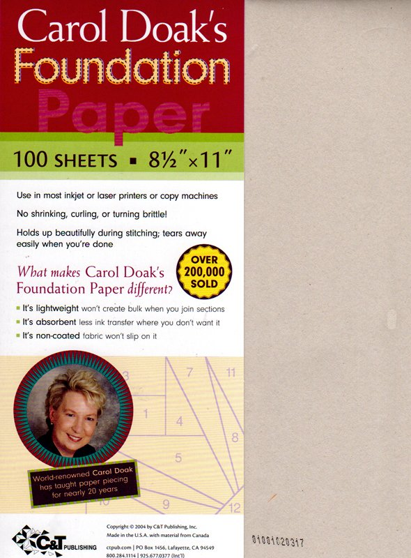 Carol Doak's Foundation Piecing Paper