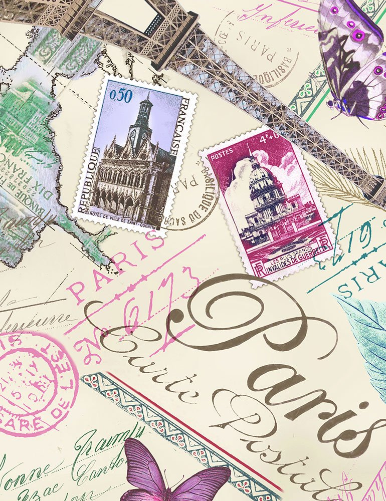 Timeless Treasures Paris Postcard C6318 Cream