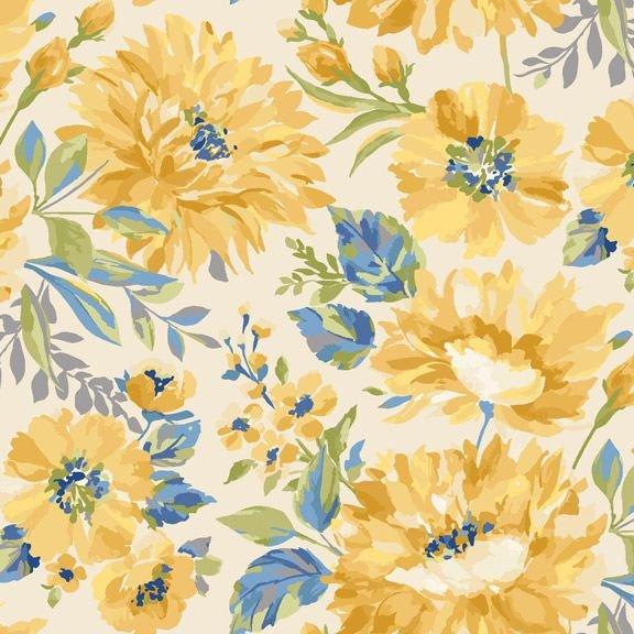 Marcus Fabrics Yellow Sky from Laura Berringer R2129 Flower Lt Cream