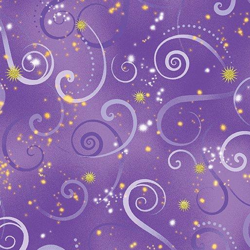 Benartex Canvas Studios Dance of the Dragonfly Swirling Sky Medium Purple 8500M 60