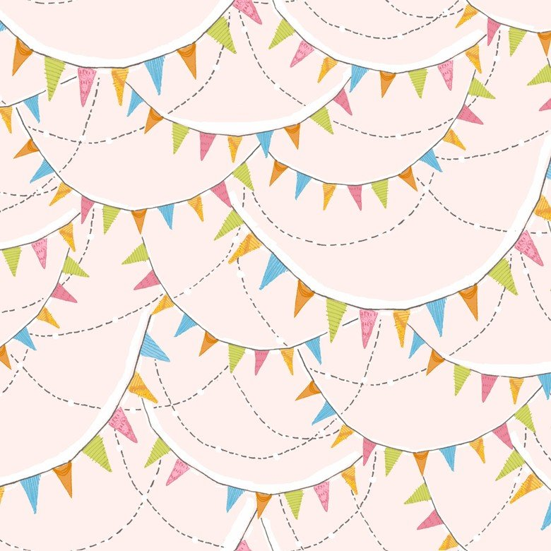 BLEND- Hello World pink with multi pennants