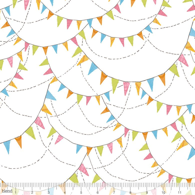 BLEND- Hello World white with multi pennants