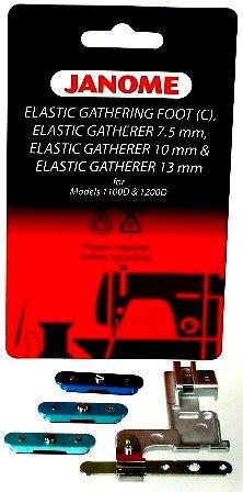 JAN- Elastic Gathering Foot C Elastic Gatherer 7.5mm Elastic Gatherer 10mm Elastic Gatherer 13mm