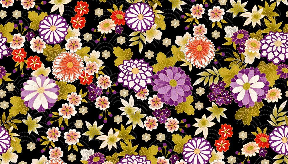ANDMAK- Kimono Multi Floral On Black