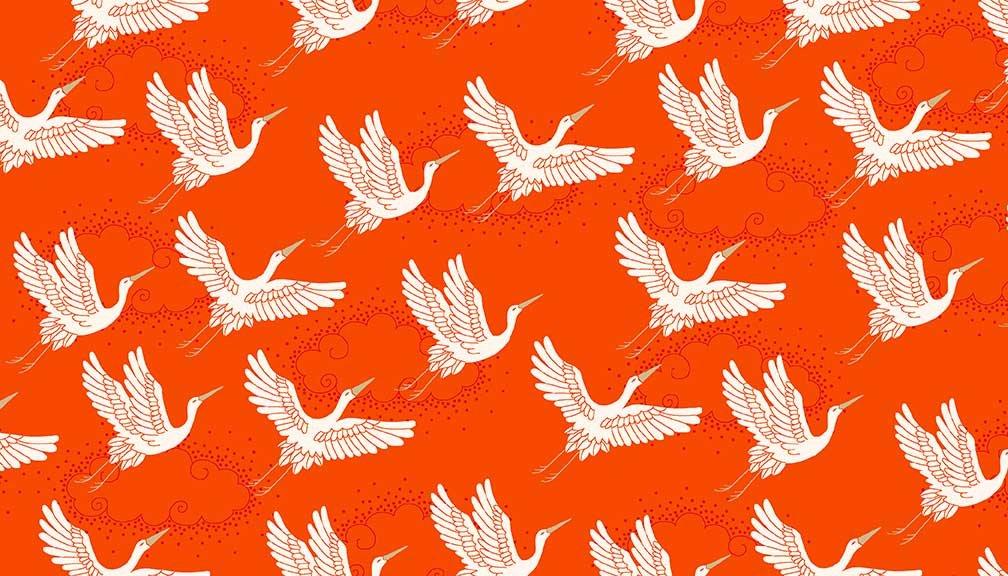ANDMAK- Kimono Red With White Cranes