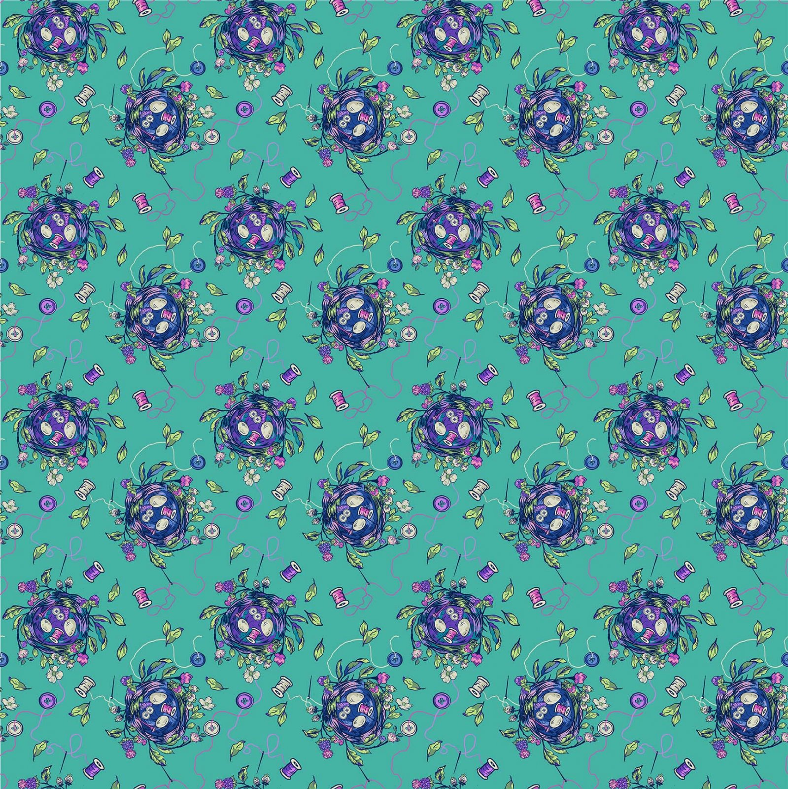 NORTH- Stag and Thistle Dark Turquoise Sew Bountiful