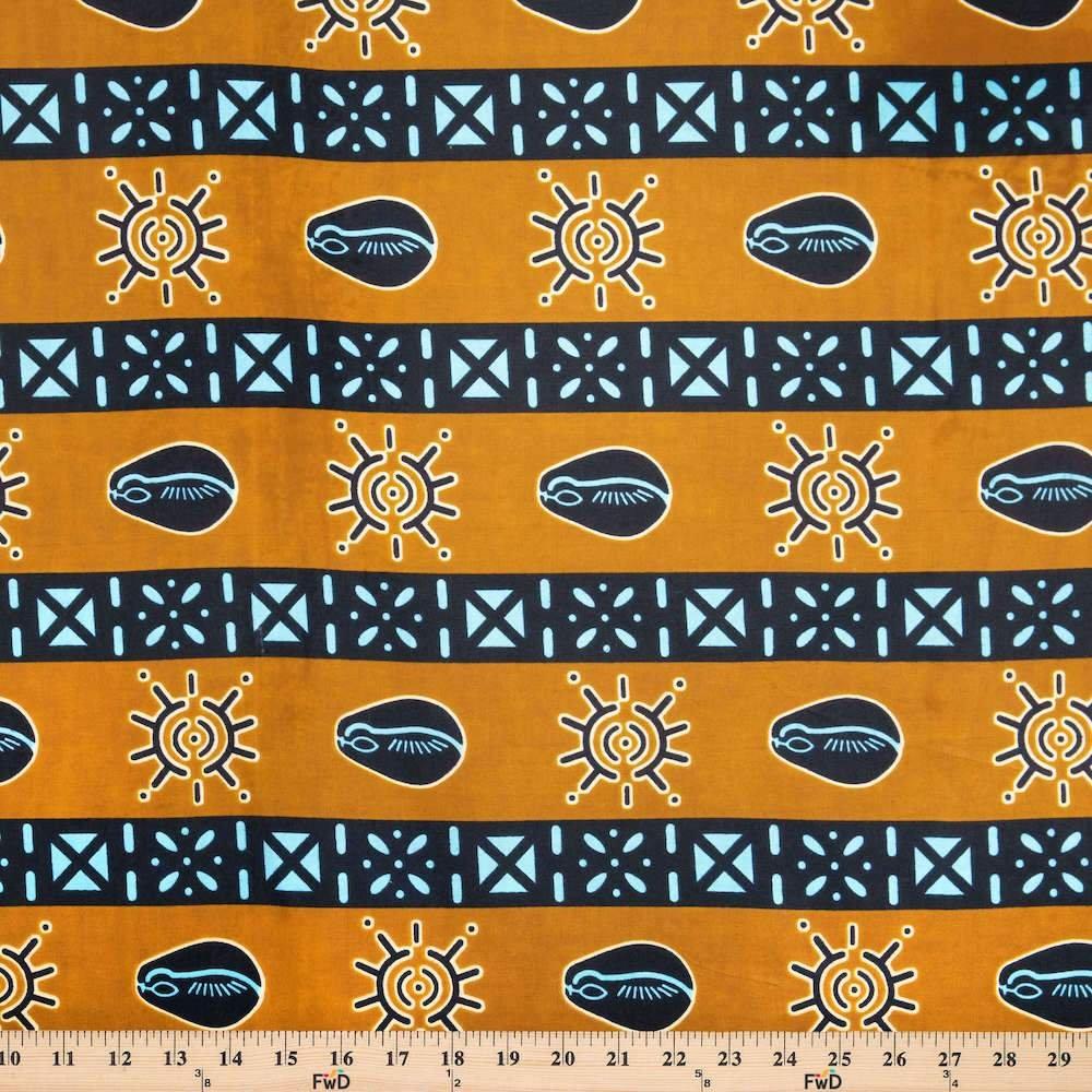 AFR- Wax Print Brown & Navy Stripe