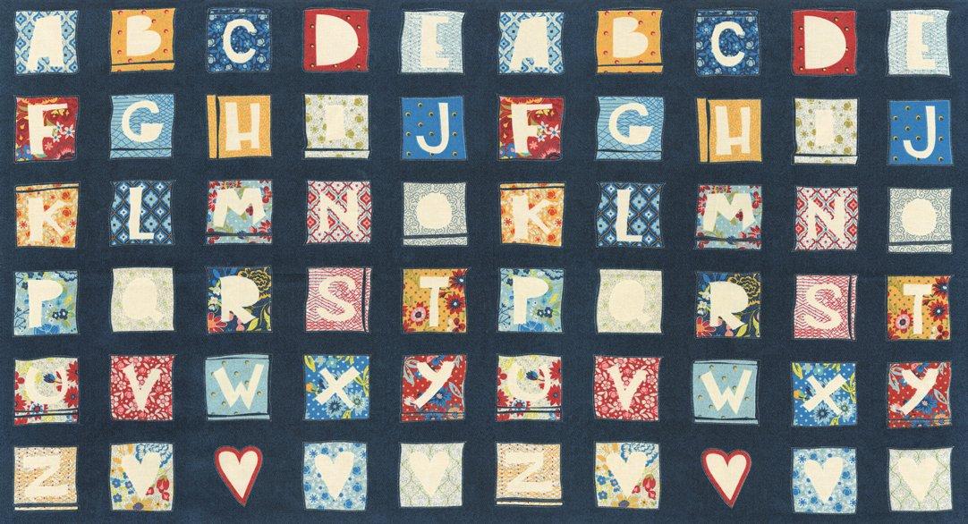 MODA- Biscuits Gravy Navy Alphabet Squares