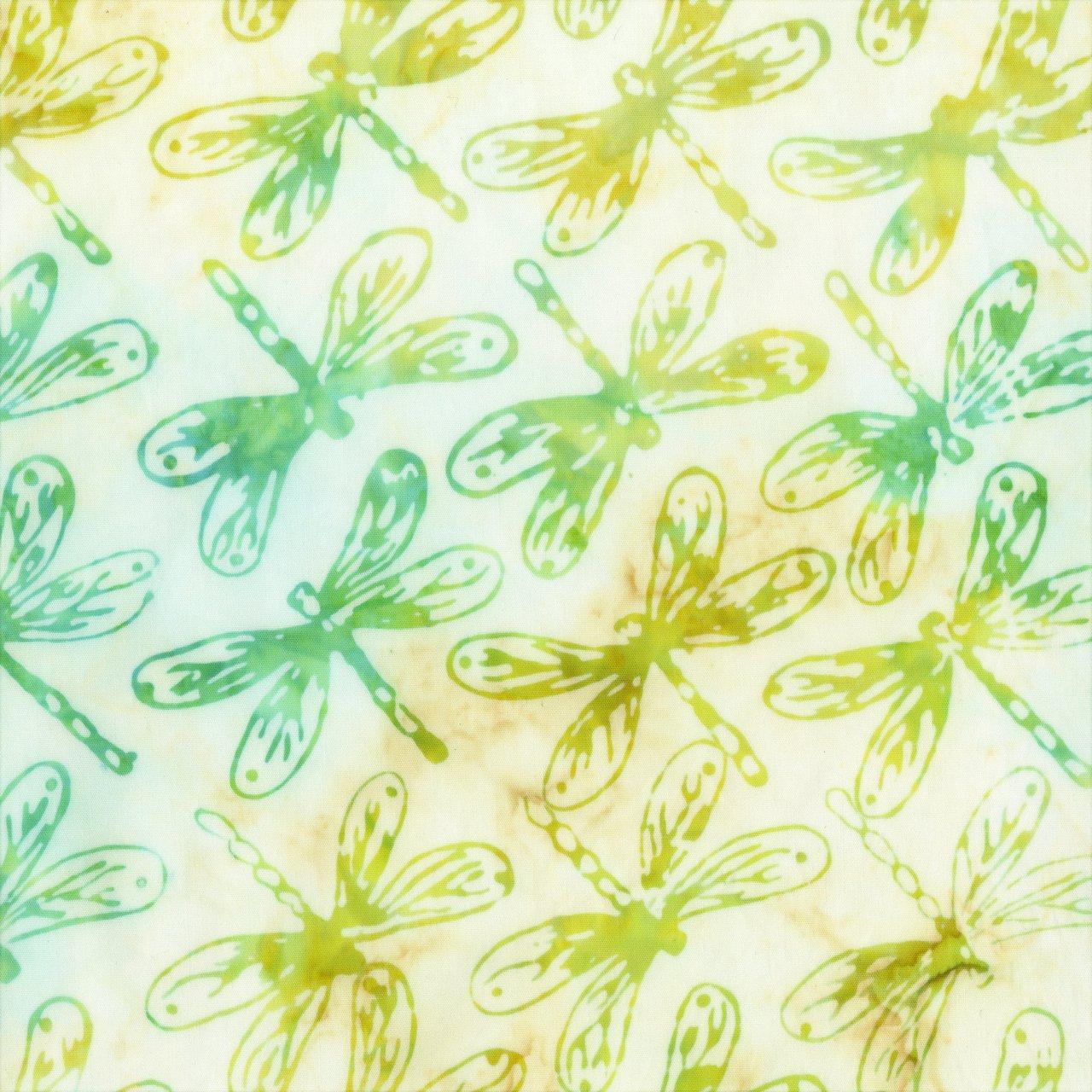 ANTH- Green Dragonflies on Lemon Batik