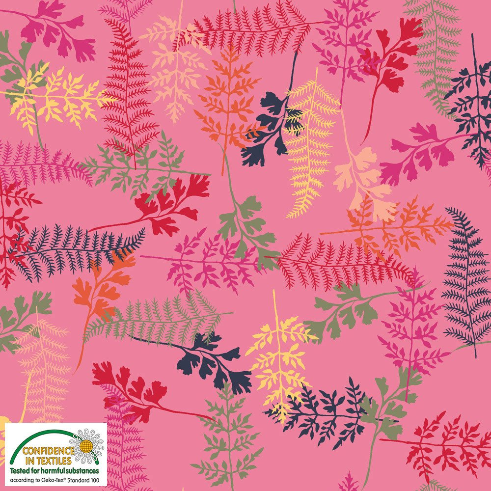 STOF- Marble Yard Multi Fern Leaves on Pink