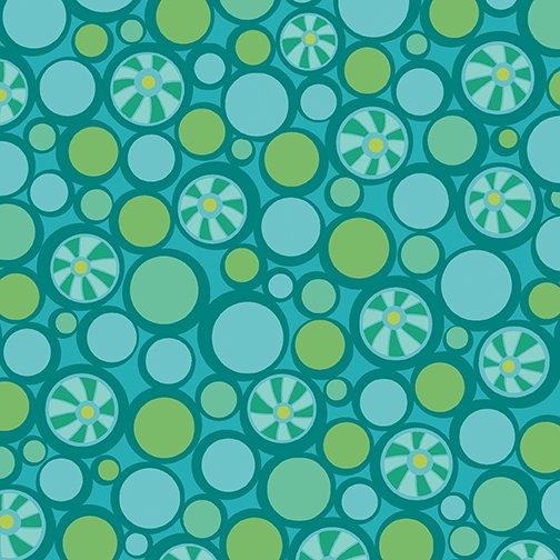 CONT- Free Motion Fantasy Teal Pebbles