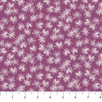 FIGO- Mountain Meadow White Flowers on Purple