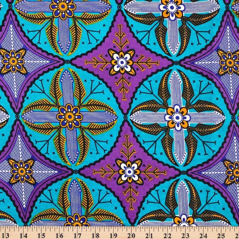 AFR- Wax Print Turquoise w/Purple Diamonds
