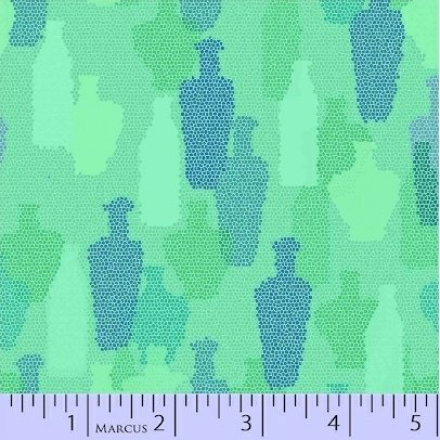 MARCUS- Sea Glass Green w/Blue and Lime Dotted Bottles