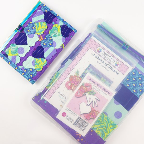 KIT- A Clutch of Hearts by Tula Pink Pattern Paper Pieces Fabric & Clutch Frame