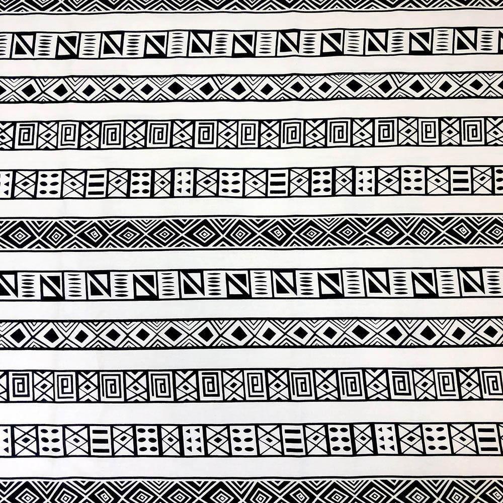 AFR- Wax Print Black & White Tiled Stripe