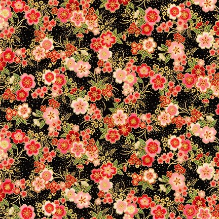 KAUF- Imperial Collection Metallic 15 Black/Pink Floral