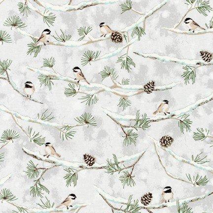 KAUF- Winter Whitesolstice Winter Birds on Evergreen Branches