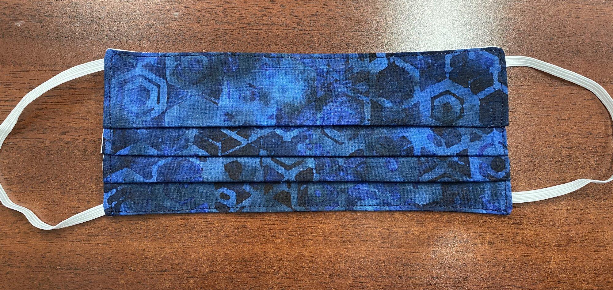 Handmade Fabric Masks Batch E Blue Batik