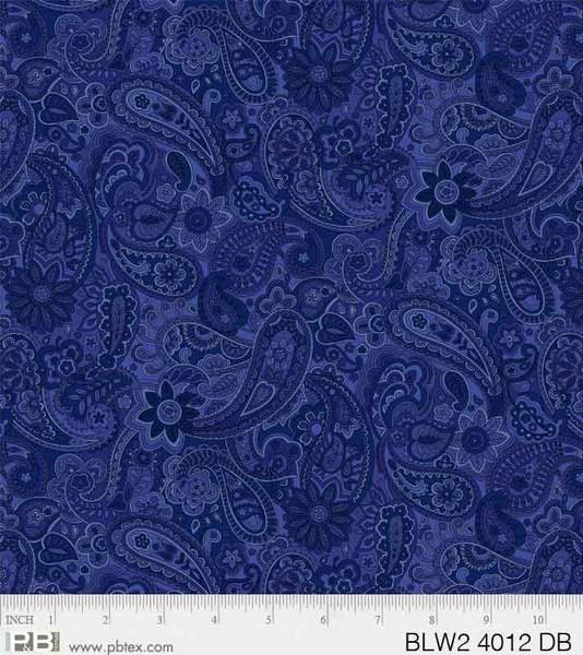 PB- Dark Blue Paisley Bella Suede 108 Wideback