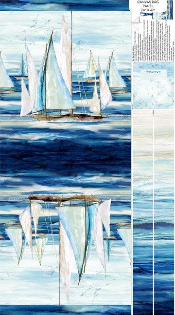 Panel- Sail Away Indigo Canvas Bag
