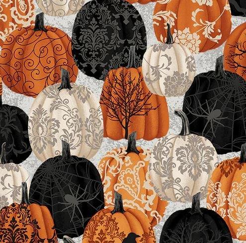 STUDIO- Spooky Night Damask Pumpkin in Black/Orange