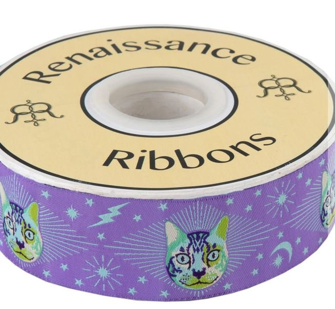N- Tula Pink Curiouser Cheshire Cat on Purple 1-1/2 Ribbon