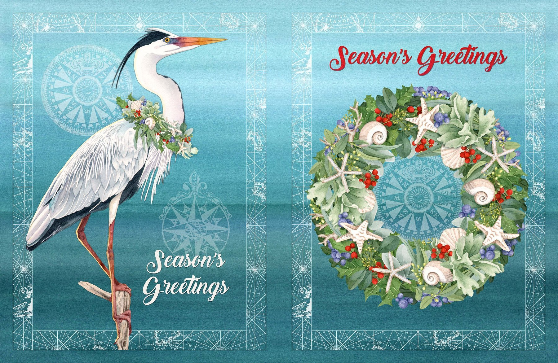 Panel- Coastal Christmas Duet Seashell Wreath and Heron