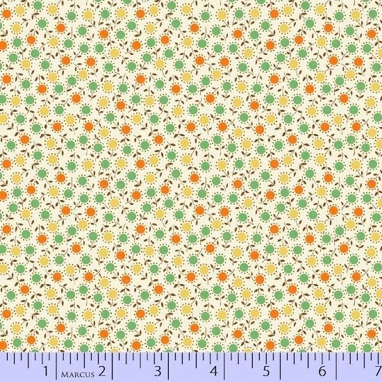 MARCUS- Aunt Grace White/Green/Orange Circle Flowers