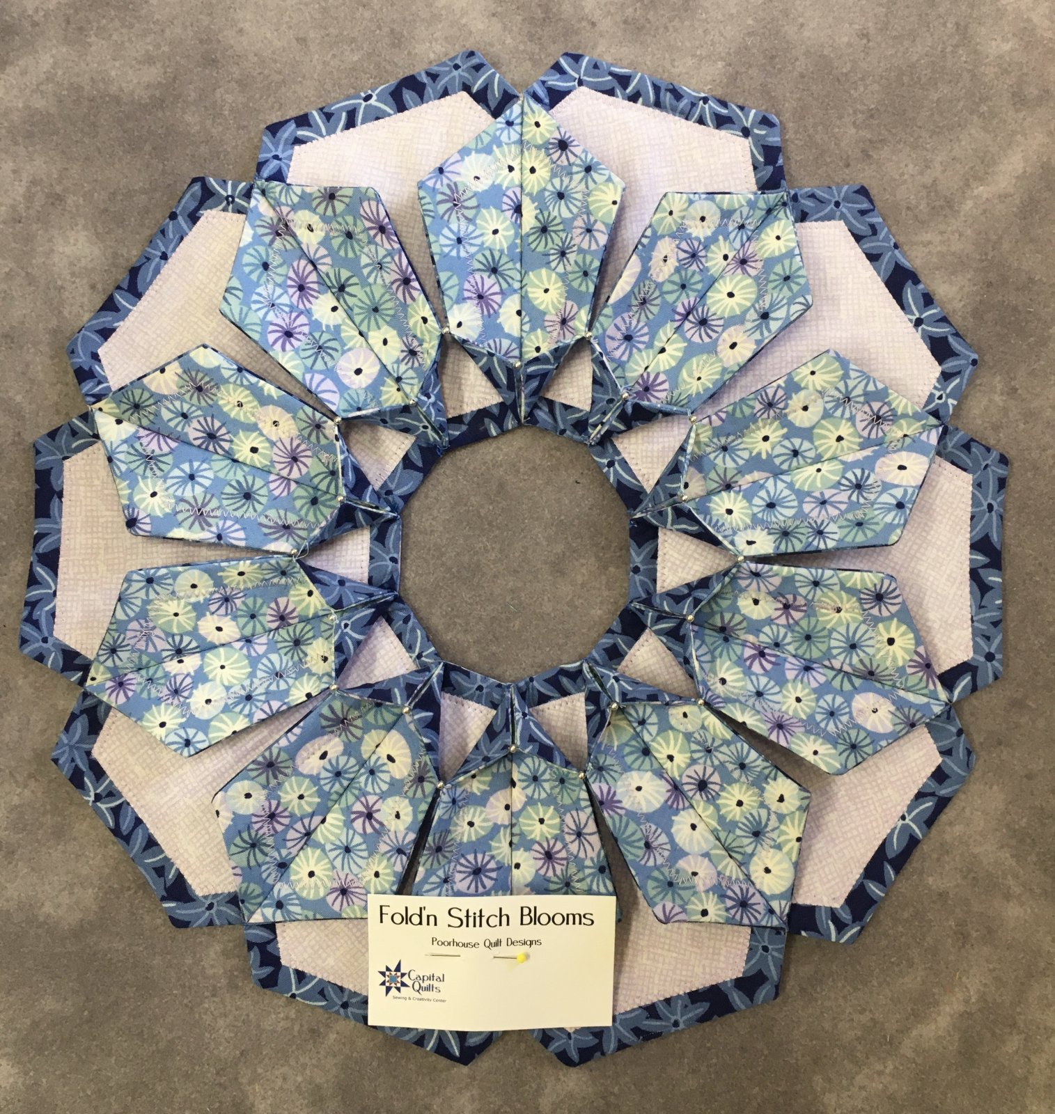 MODEL- Blue & Lavender Fold 'n Stitch Blooms Wreath