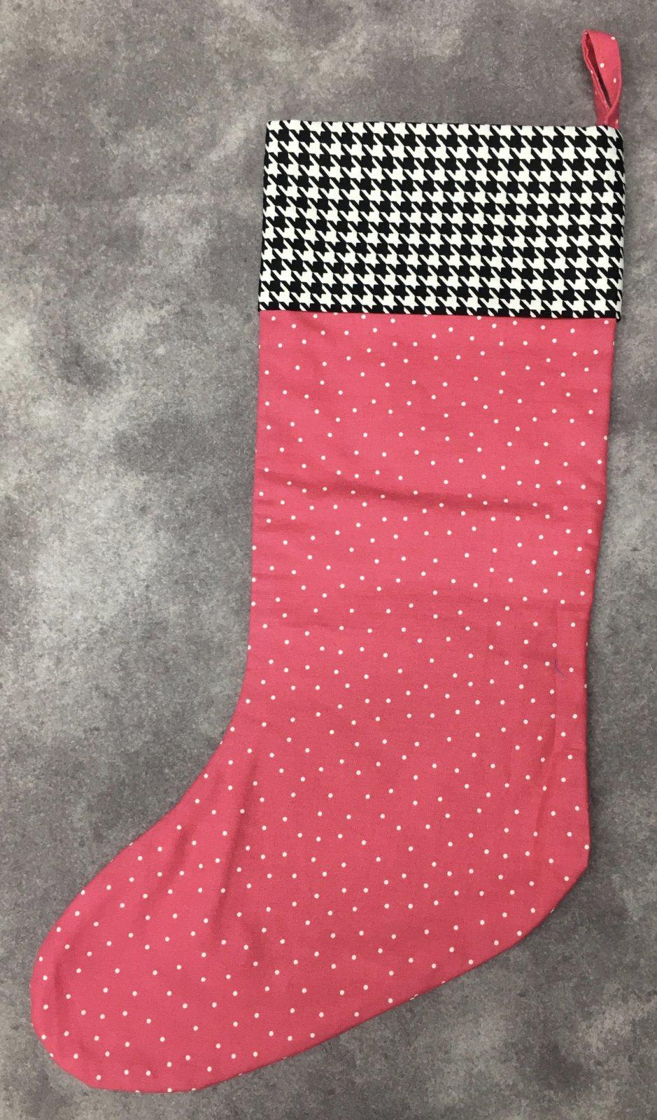 MODEL- Christmas Stocking Pink Polka Dot