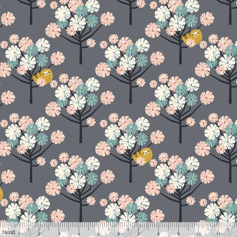 BLEND- Rainforest Slumber grey with sloths in multi trees