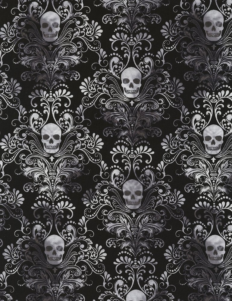 TT- Knit Black/white skull damask