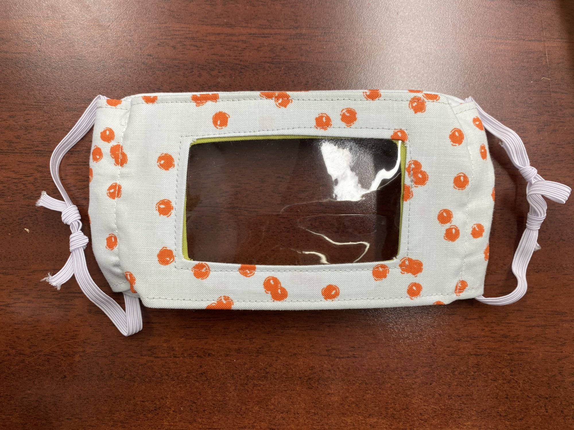 Communicator Handmade Fabric Masks Batch I Grey w/orange dots