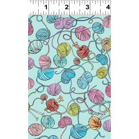 CLOTH- Knittens  yarn on lt blu