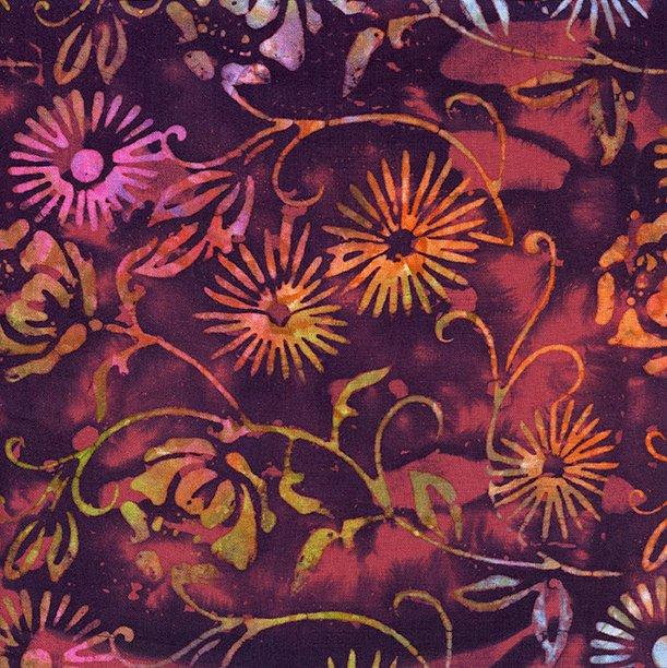 IB- Rayon Batik Mai Tai Purple Floral